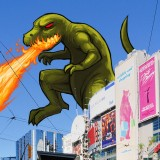 This is an approximation of how this doodle is used in the app. A sky is detected, masked, and Rexilla is placed in the sky space. Photo CC Taxiarchos228 ( http://de.wikipedia.org/wiki/Dundas_Square#mediaviewer/Datei:Toronto_-_ON_-_Yonge-Dundas_Square.jpg )