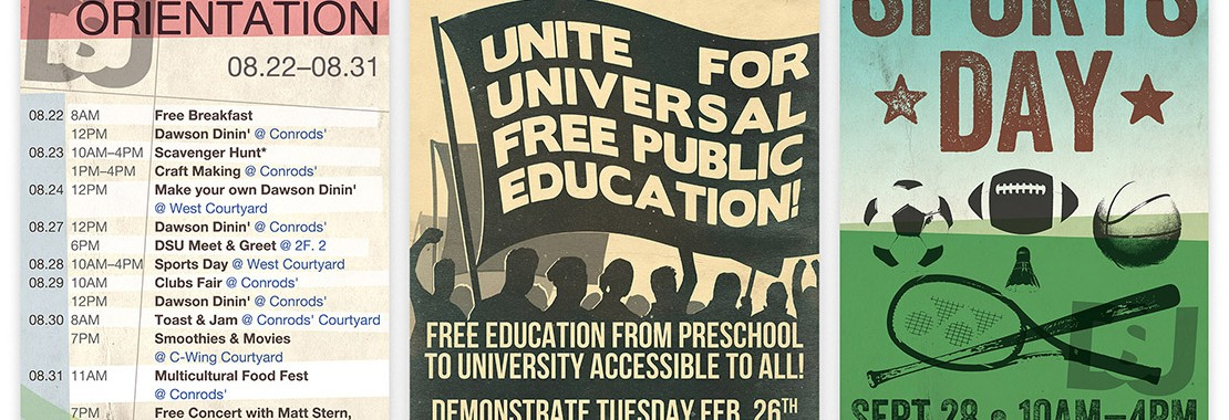 I actually based the middle poster here on an old etched union poster.